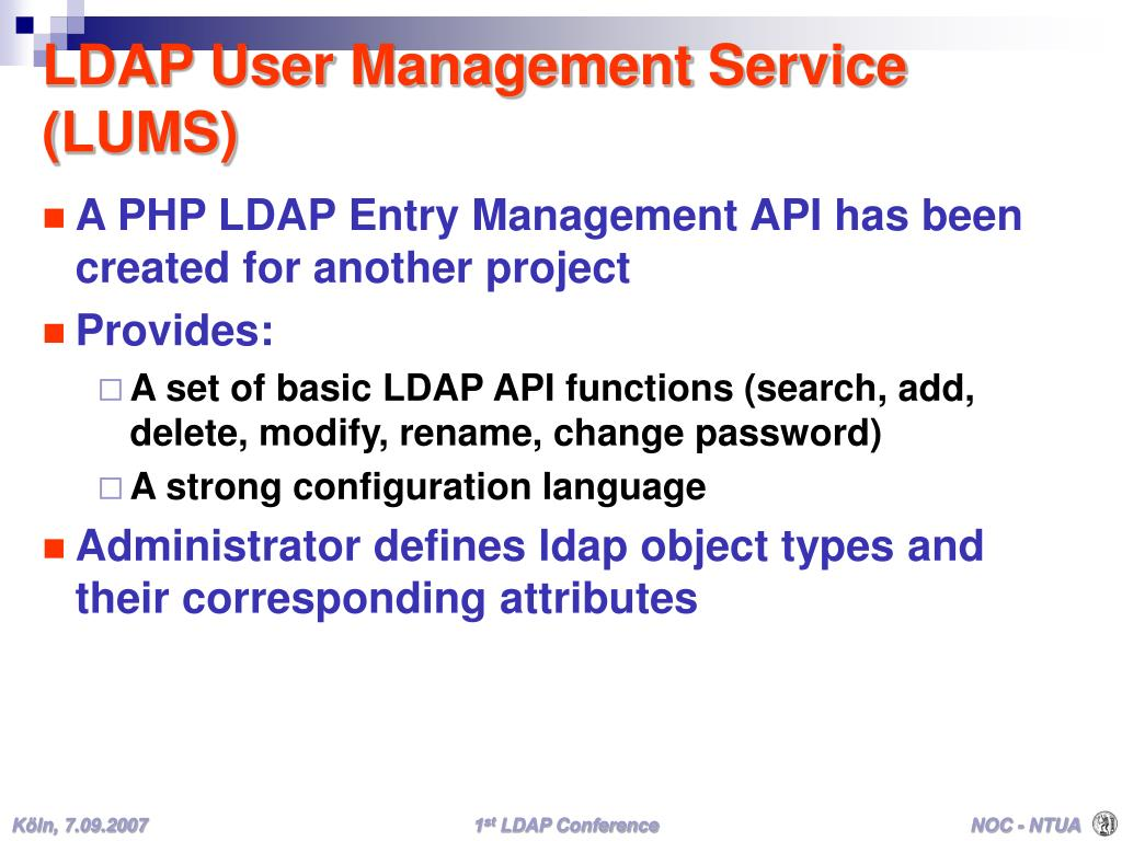 LDAP User Management Service (LUMS)
