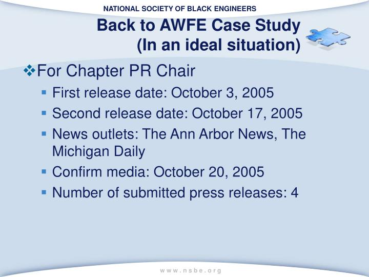 Back to AWFE Case Study
