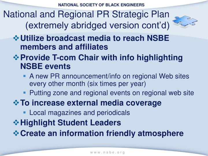 National and Regional PR Strategic Plan