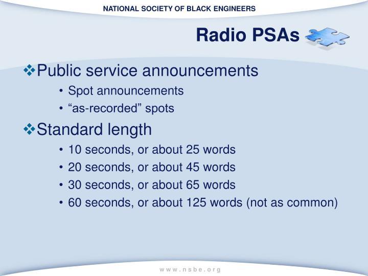 Radio PSAs