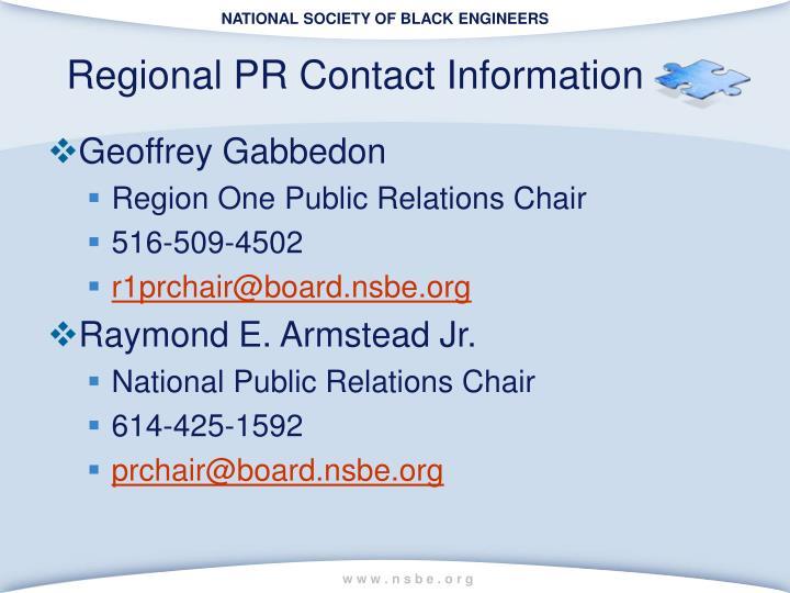 Regional PR Contact Information