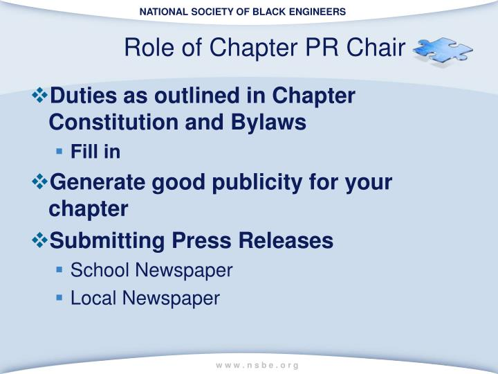 Role of Chapter PR Chair