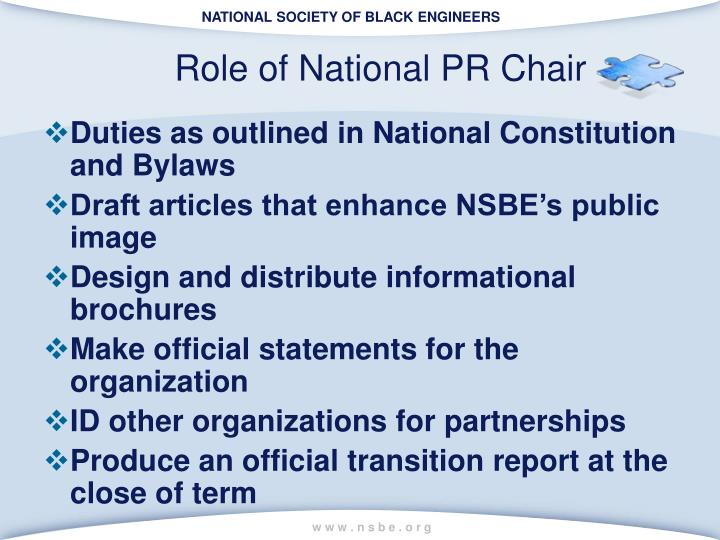 Role of National PR Chair