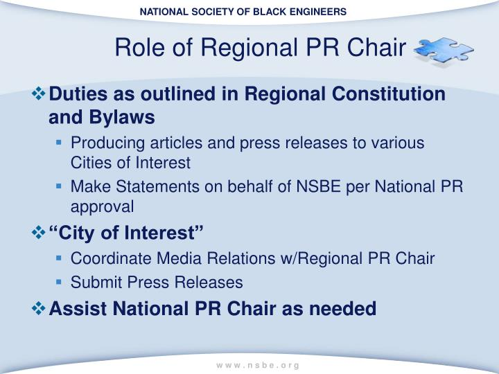 Role of Regional PR Chair