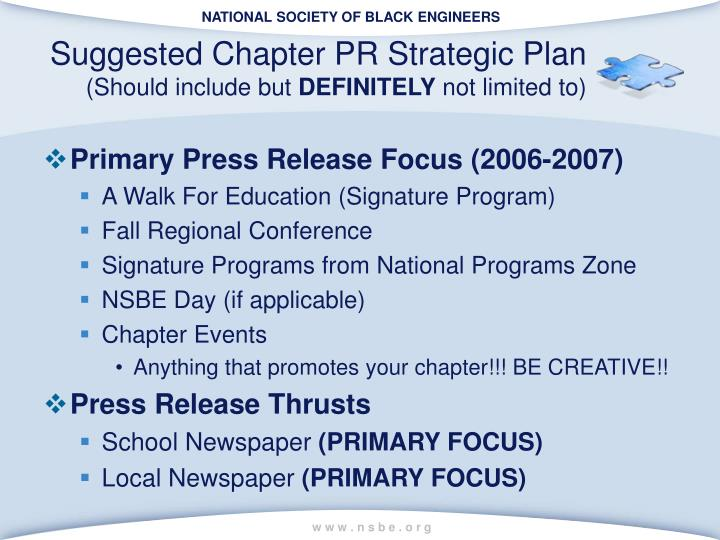 Suggested Chapter PR Strategic Plan