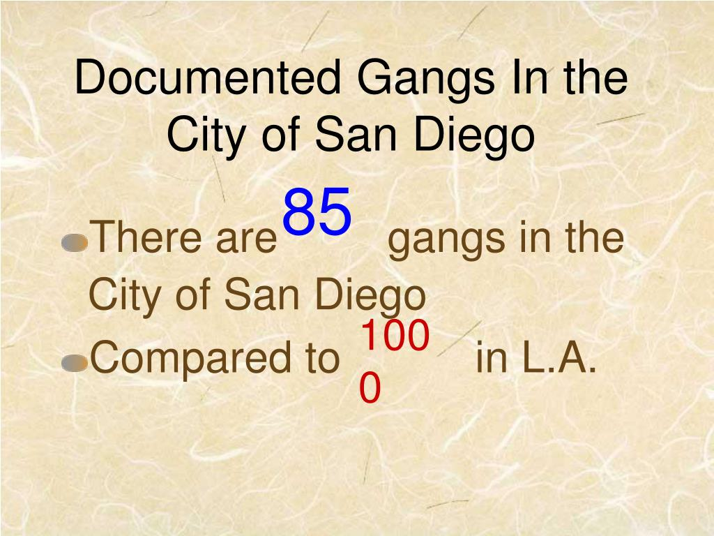 Documented Gangs In the City of San Diego