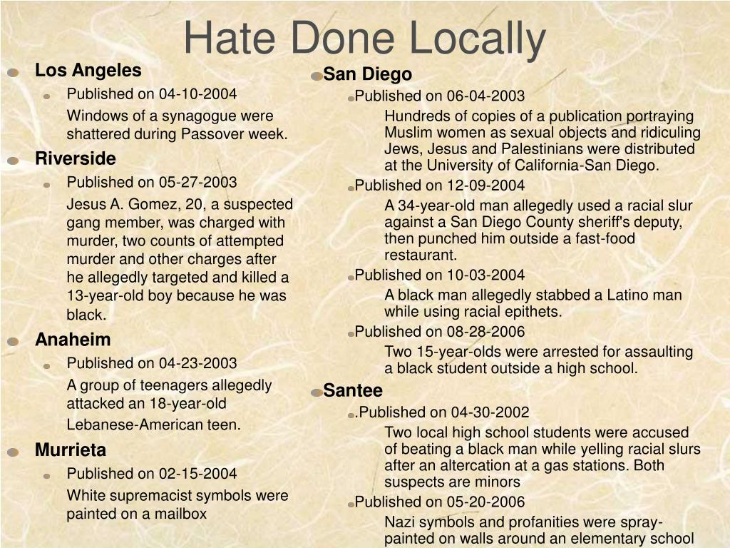 Hate Done Locally