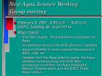 next aqua science working group meeting