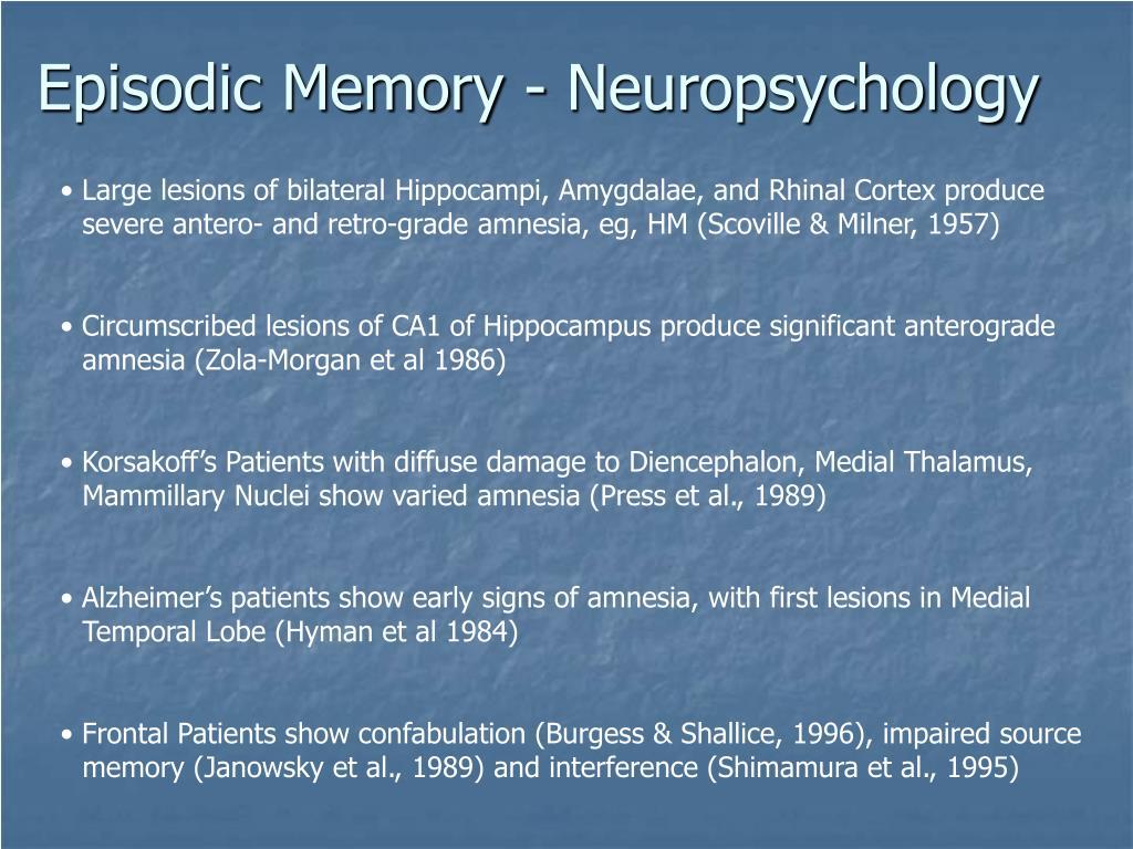 Episodic Memory - Neuropsychology