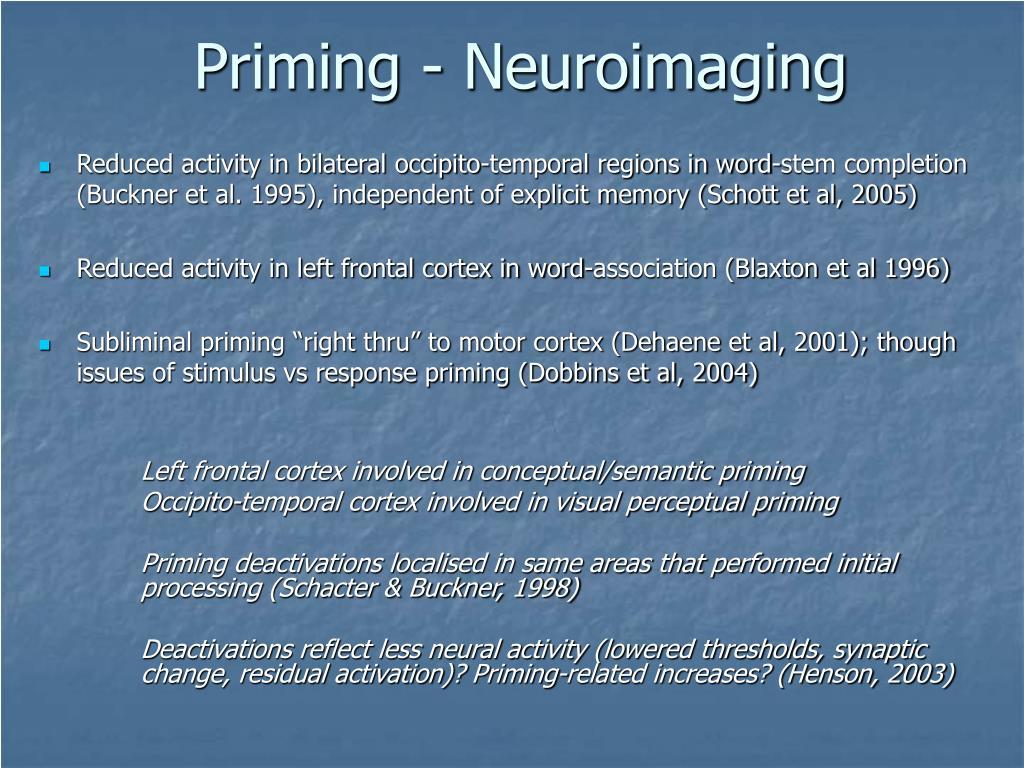 Priming - Neuroimaging