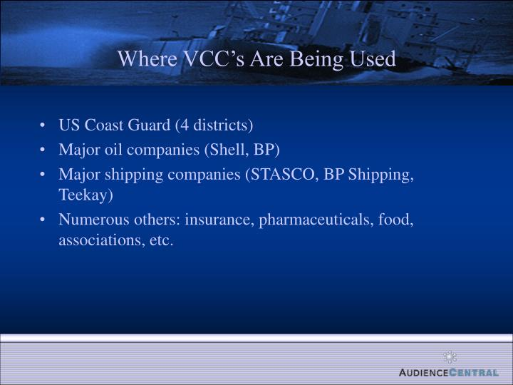 Where VCC's Are Being Used