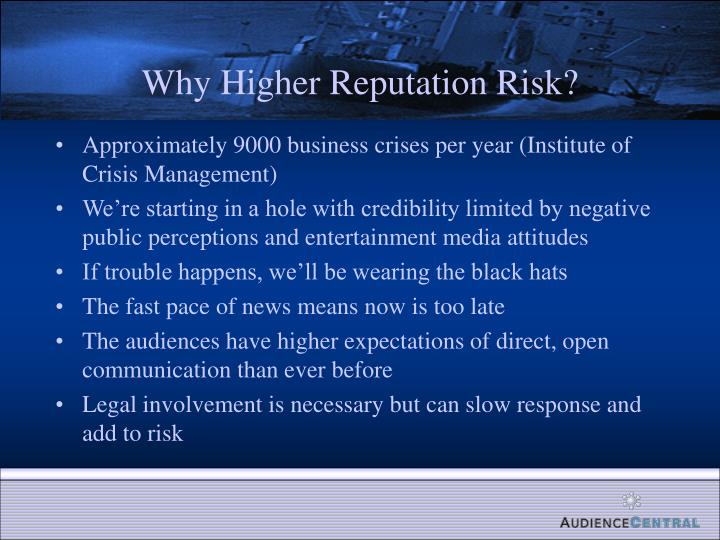 Why Higher Reputation Risk?
