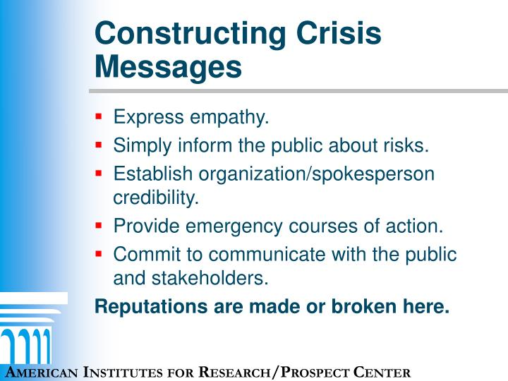 Constructing Crisis Messages
