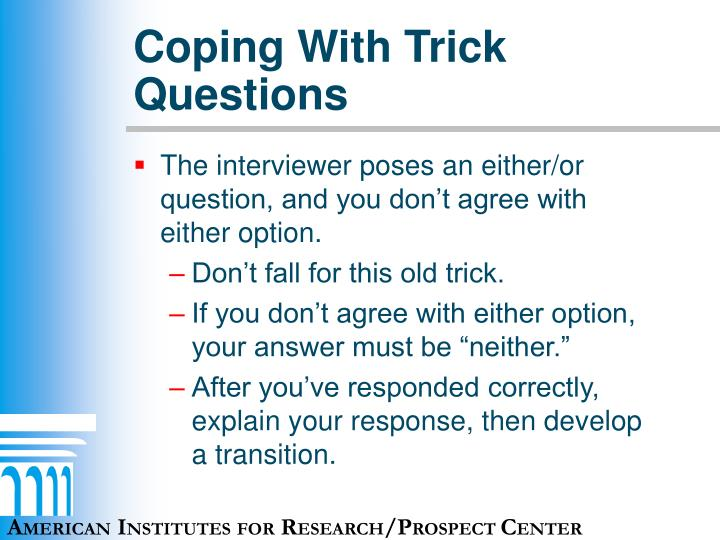 Coping With Trick Questions