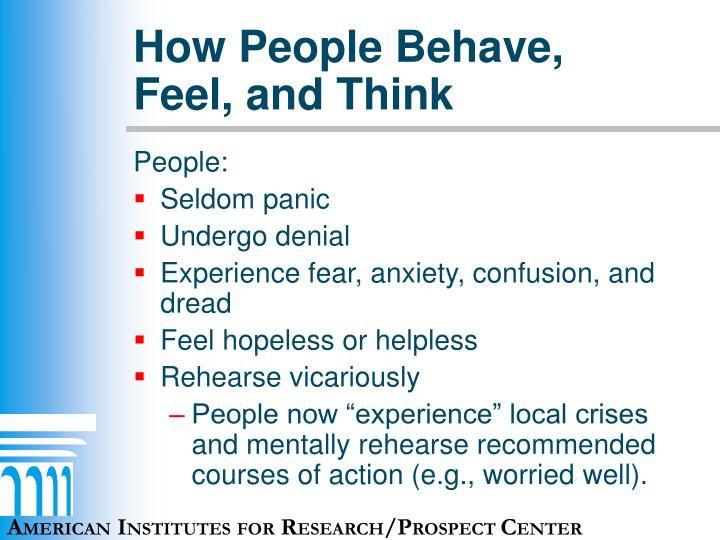How People Behave, Feel, and Think