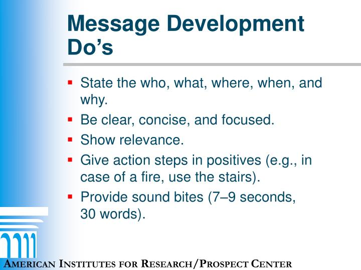 Message Development Do's