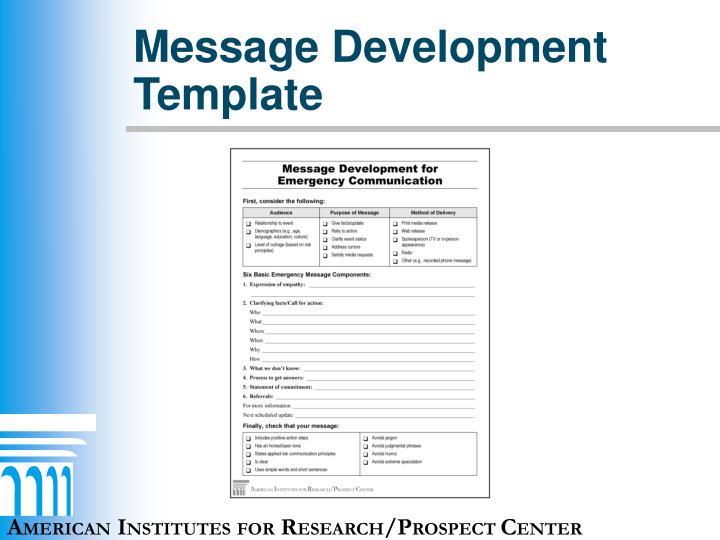 Message Development Template