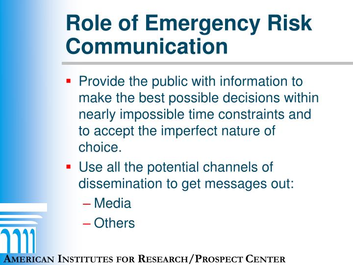 Role of Emergency Risk Communication