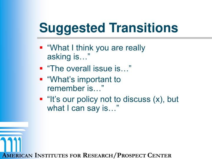Suggested Transitions