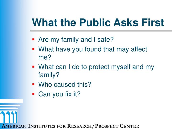 What the Public Asks First