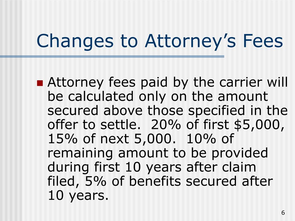 Changes to Attorney's Fees