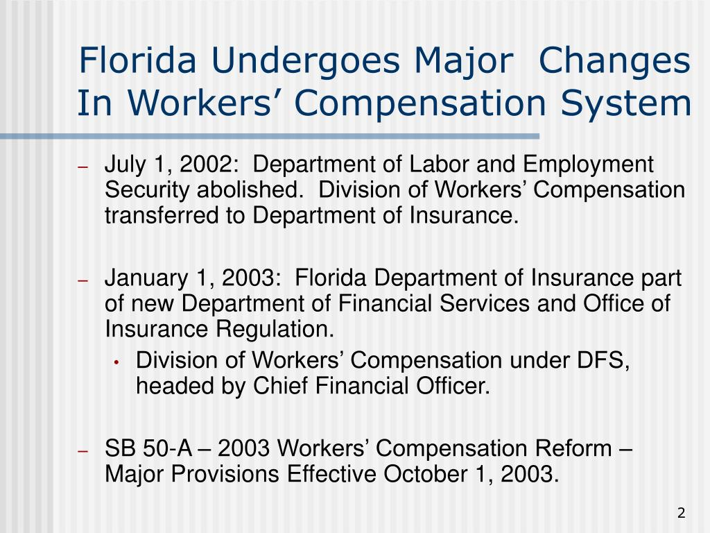 Florida Undergoes Major  Changes In Workers' Compensation System