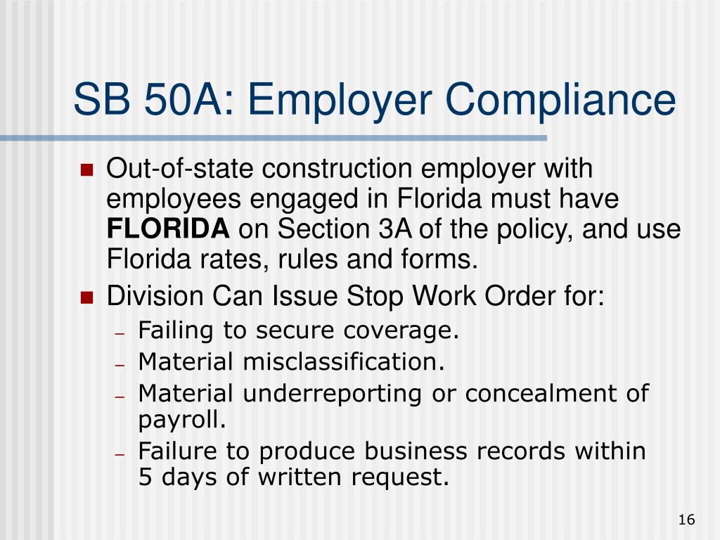 SB 50A: Employer Compliance