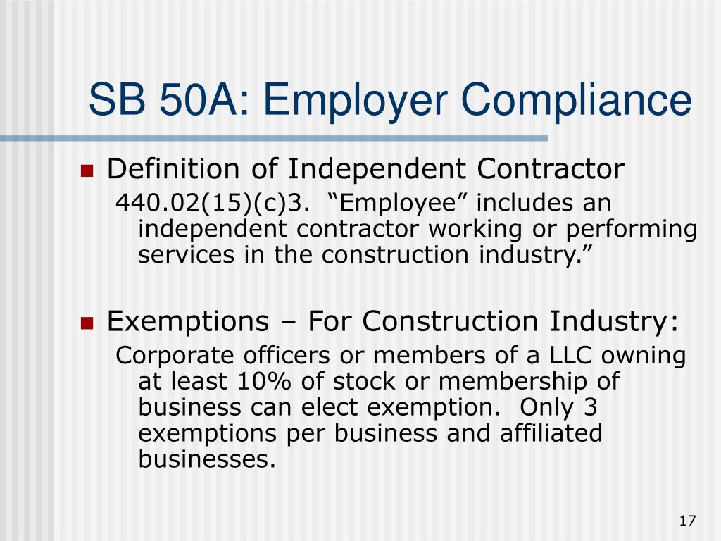 SB 50A: Employer Compliance