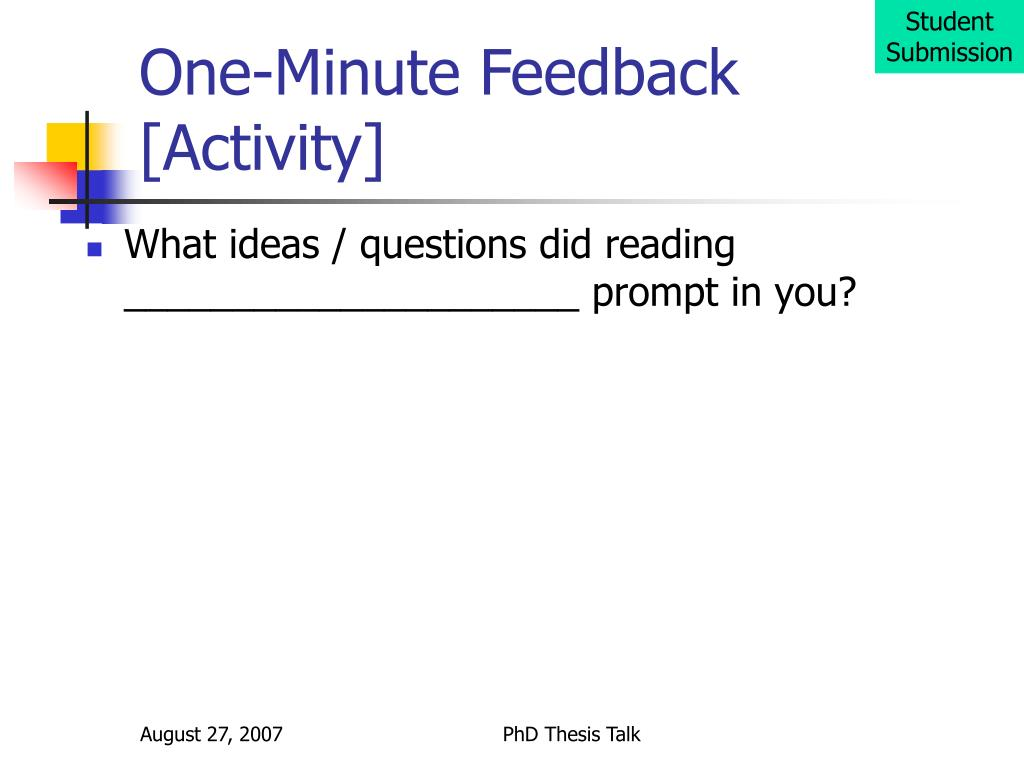 one minute feedback activity