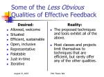 some of the less obvious qualities of effective feedback