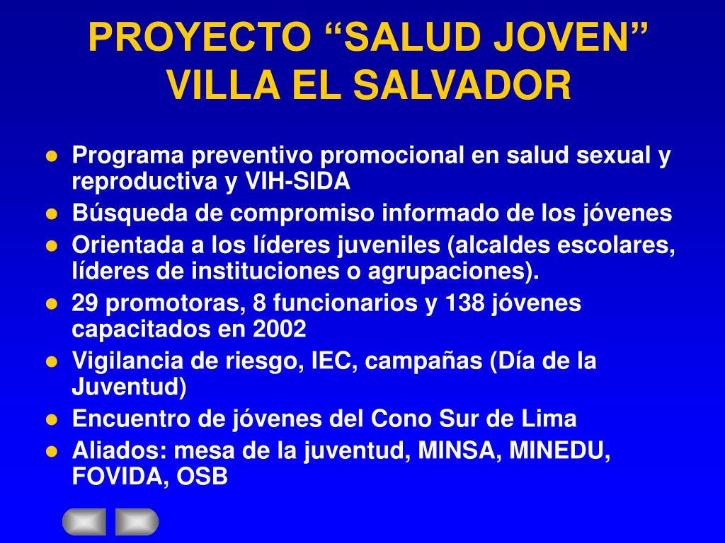 """PROYECTO """"SALUD JOVEN"""" VILLA EL SALVADOR"""