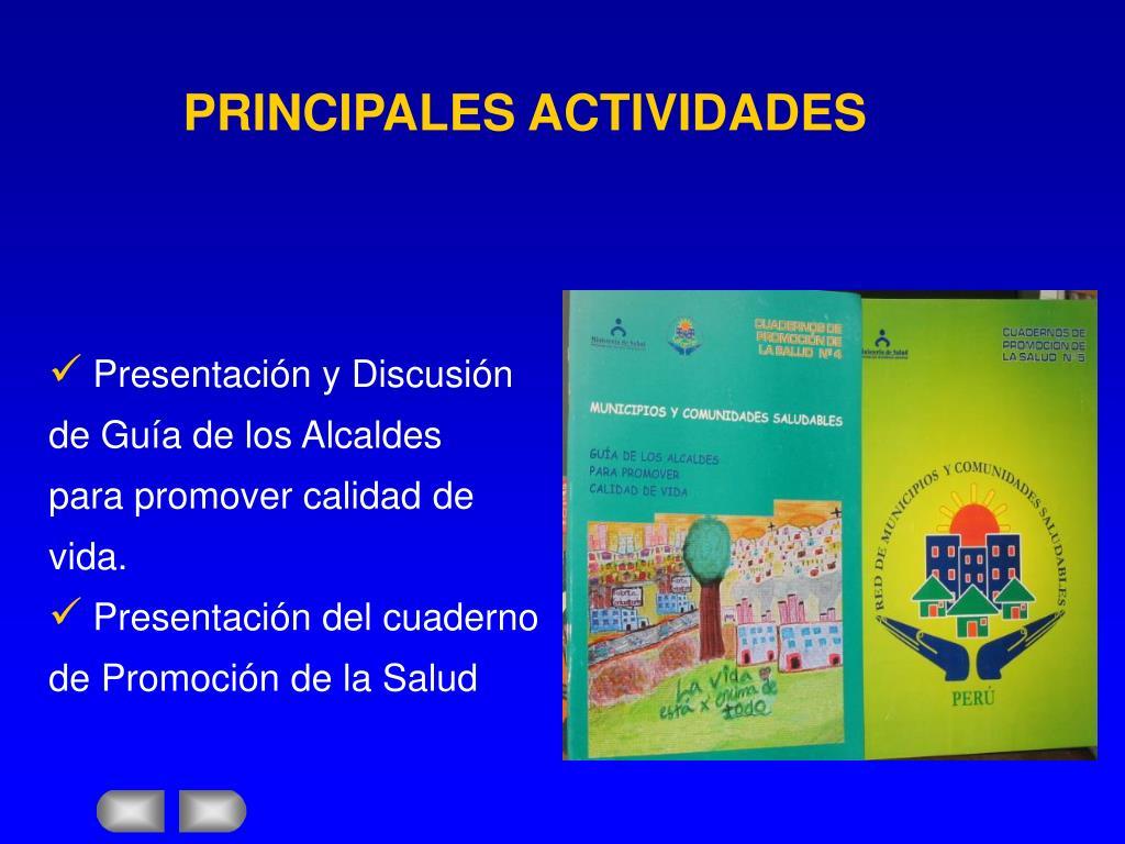 PRINCIPALES ACTIVIDADES