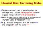 classical error correcting codes