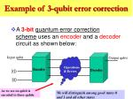 example of 3 qubit error correction
