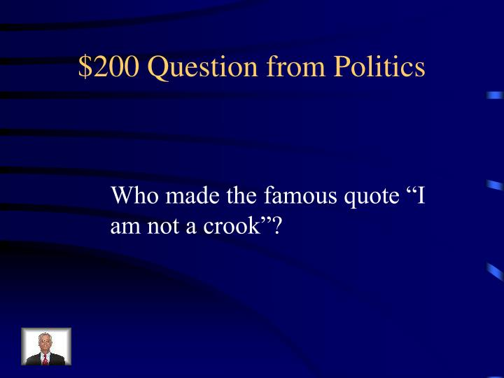 $200 Question from Politics