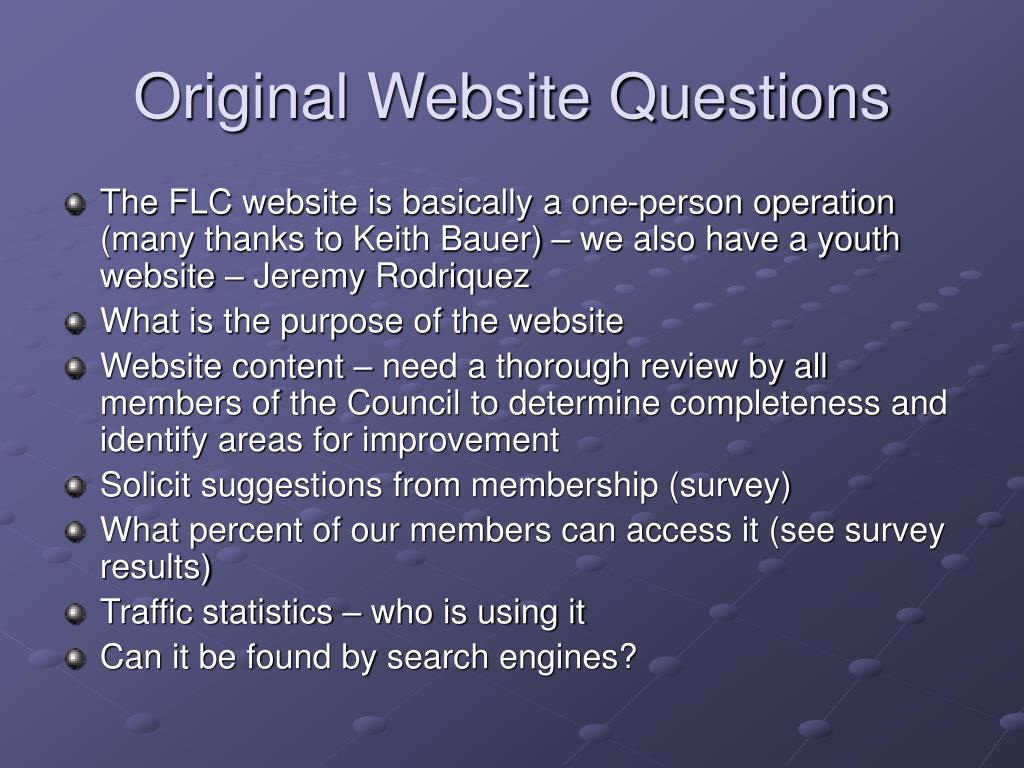 Original Website Questions