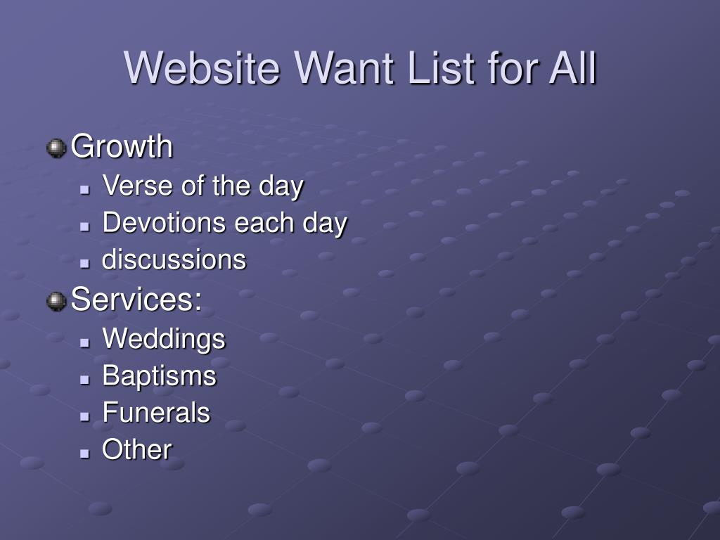 Website Want List for All