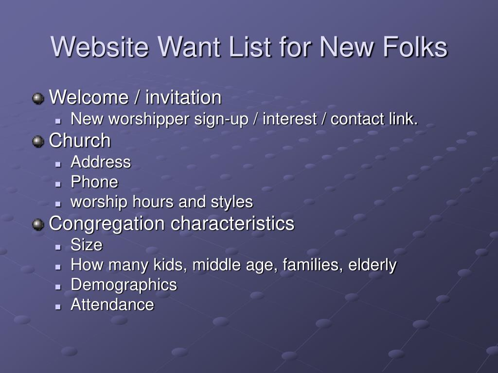 Website Want List for New Folks