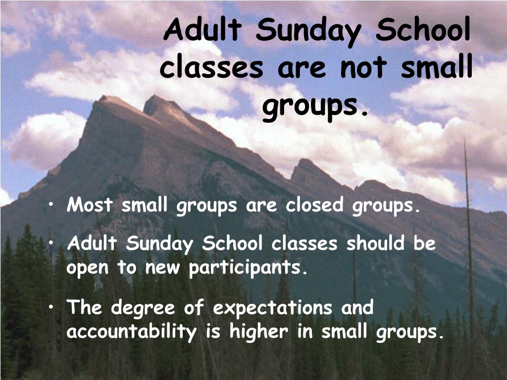 Adult Sunday School classes are not small groups.