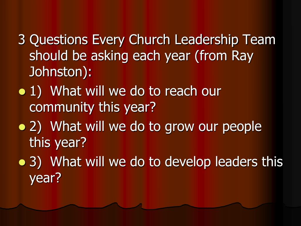 3 Questions Every Church Leadership Team should be asking each year (from Ray Johnston):