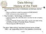 data mining history of the field