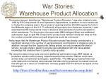 war stories warehouse product allocation