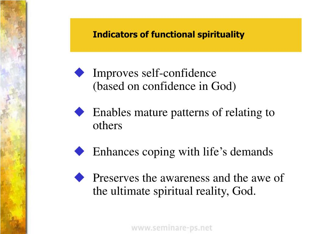 Indicators of functional spirituality