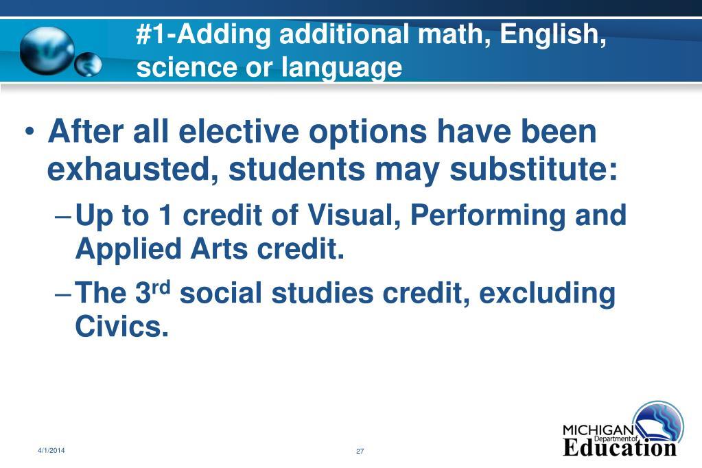 #1-Adding additional math, English, science or language