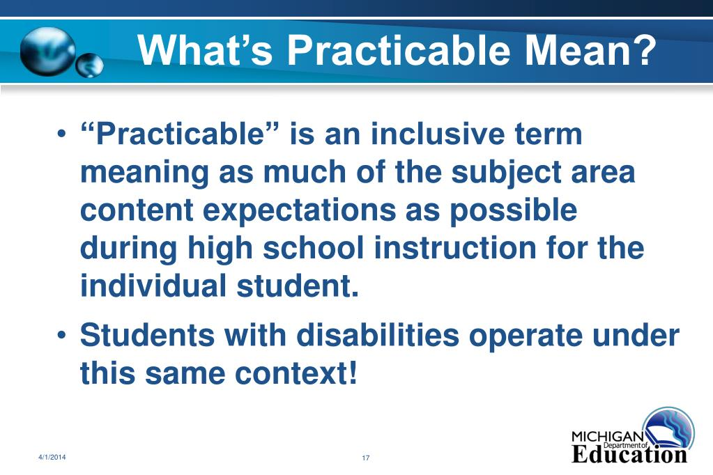 What's Practicable Mean?