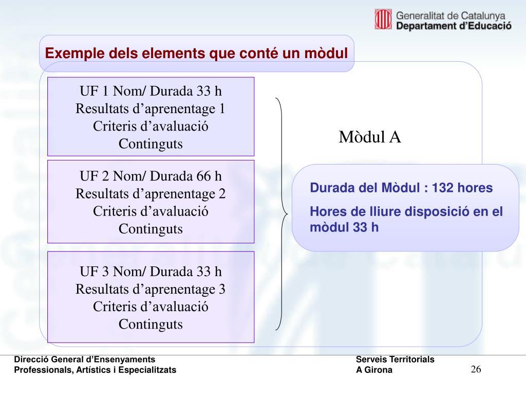 Exemple dels elements que conté un mòdul