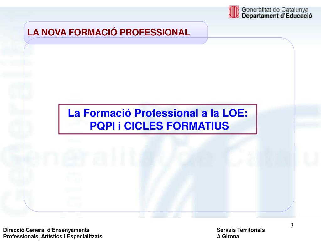 LA NOVA FORMACIÓ PROFESSIONAL