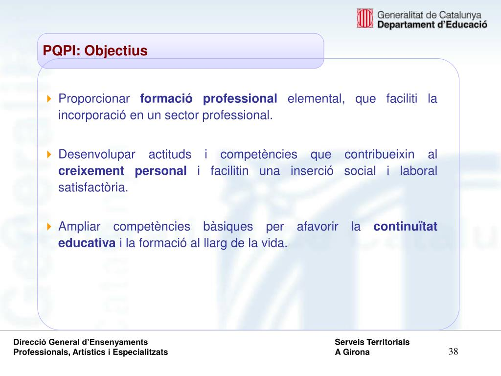 PQPI: Objectius