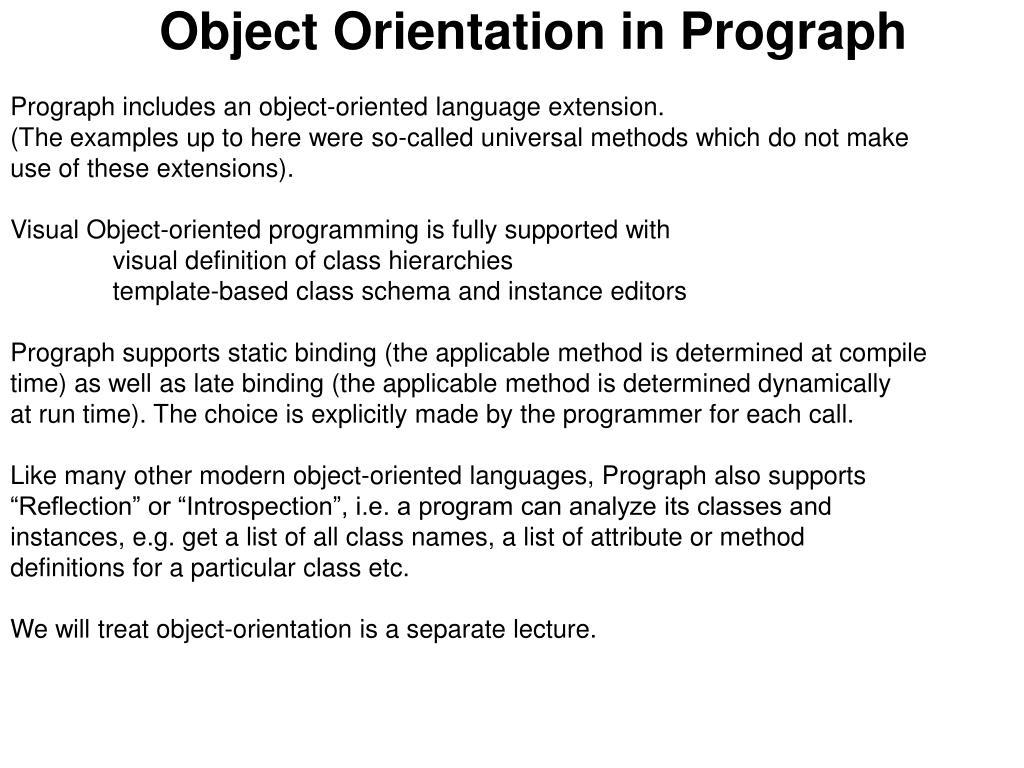 Object Orientation in Prograph
