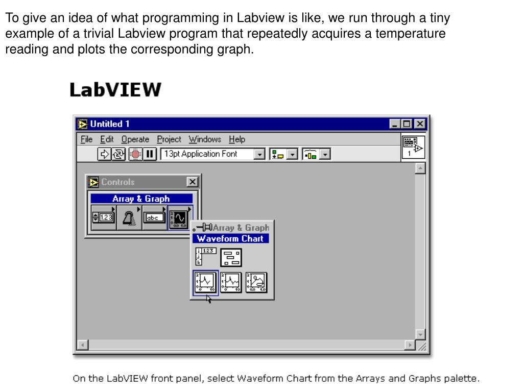 To give an idea of what programming in Labview is like, we run through a tiny